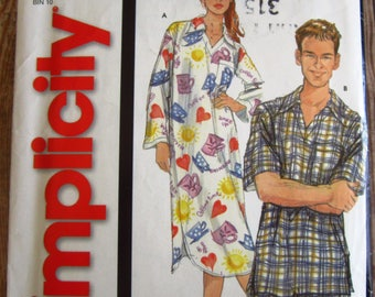 Easy Sew Misses Mens Teens Nightshirt and Pajamas Sizes XS S M L XL Simplicity Pattern 5833 UNCUT
