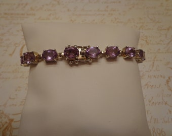 "Vintage 7 1/4"" Light Amethyst Faceted Oval Gemstone and Sterling Silver Tennis Bracelet"