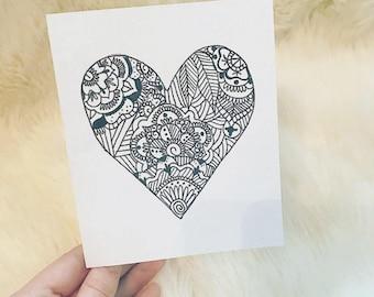 "Greeting cards- Blank inside- Zentangle Heart 5.5"" x 4.25"""