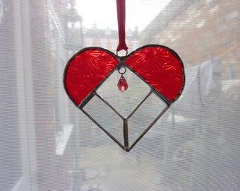 Red heart stained glass suncatcher,Heart Suncatcher.