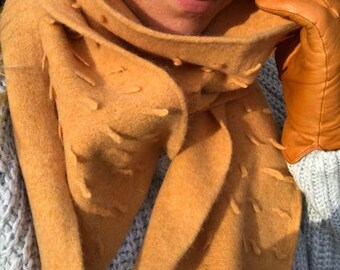 Handcrafted knitted & felted Lambswool scarf, mandarin buds