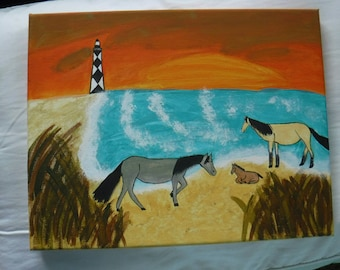 Hand Painted Canvas - Horses on Cape Hatteras National Sea Shore