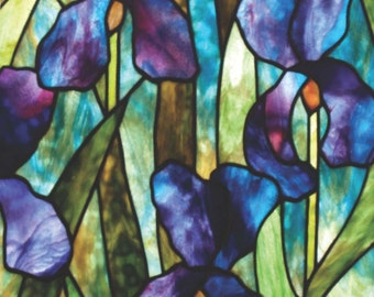 Moody Iris Stained Glass Pattern. © David Kennedy Designs.