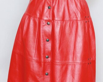 Vintage 1980's Dark Red Leather Button Front Mini Skirt