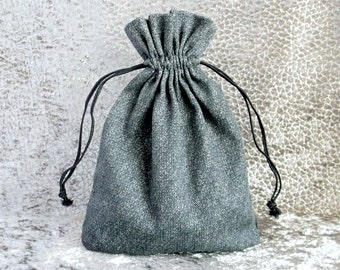 Drawstring gift bag Gray natural cotton storage pouch Fabric pouch 17 x 13 cm