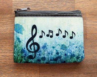 Floral Music and Treble Clef Neoprene Coin Purse or Zipper Pouch