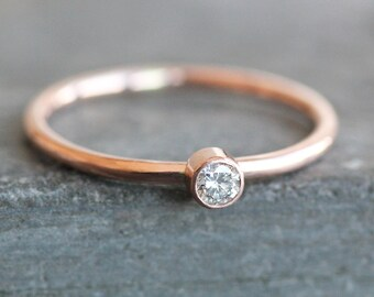 Small 2.75mm Diamond Ring -14K Solid Recycled Gold Band - 14K Rose Gold - Conflict Free Diamond  - READY TO SHIP (Size 6 / Resize)