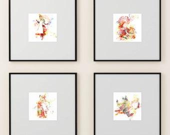 Alice in Wonderland set of 4 prints