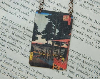 Hokusai necklace Japanese Art mixed media jewelry