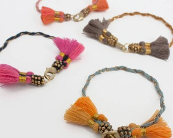 Cotton Tassel Bohemian Bracelet // Lala Bracelet // Friendship Bracelet // Assorted Colours.