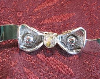 Vintage Silver & Rhinestone Bow Brooch