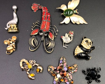 9 Delightful Vintage Figural Brooches from Estate and Pristine Condition