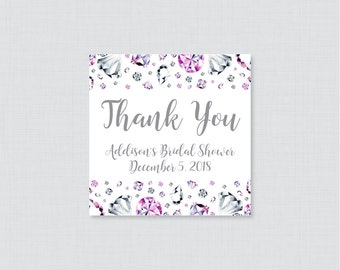 Diamond Bridal Shower Favor Tags Printable - Pink and Silver Diamonds Personalized Favor Tags Bridal Shower - Silver Bling 0023