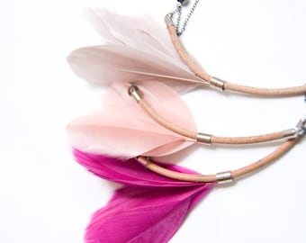 Radiant Orchid Feather Necklace - Minimalist Jewelry - Silver Minimal Necklace - Flower Bloom Necklace