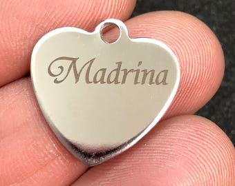 Madrina Custom Laser Engraved  Stainless Steel Heart Charm CC732