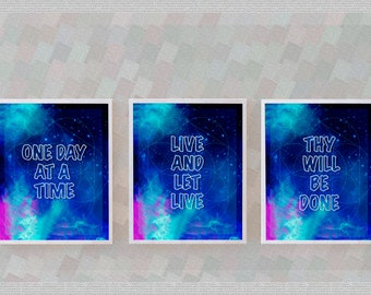 3 Recovery Slogan Prints, Spiritual galactic geometric, One Day at A Time, digital download print PDF, Alcoholics Anonymous, Overeaters, NA