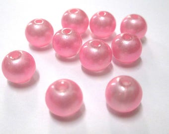 Pink shiny glass 8mm 10 beads