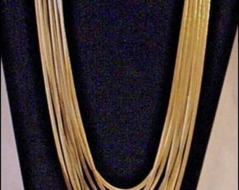 Vintage Glamorous & Gorgeous 8-Strand Gold tone multiple Chain Necklace