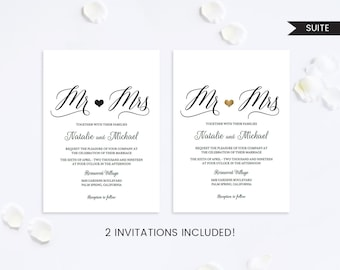 Wedding Invitation Set,Wedding Invitation Mr and Mrs,Wedding Invitation Suite,Wedding Invitation Printable,Wedding Invitation PDF,Modern