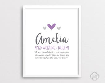 Baby name meaning etsy amelia baby name meaning personalized baby gift custom baby name art girl negle Images