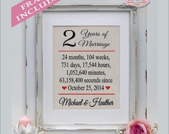 FRAMED Second Wedding Anniversary/2nd Anniversary Gift/3 year Anniversary Gift/3rd Anniversary/Family Name/Burlap Print/ Art  ( ann403-2)