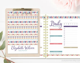 Tribal boho printable planner, custom organizer for girls, daily, weekly and monthly planner pages. Instant download, Letter size