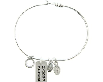 Silver Stone Harbor Bracelet with Swarovski Crystal