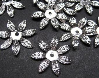 50pcs Nickel tone seven petal bead cap 17mm (BC505S)
