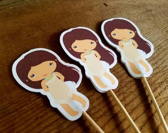 Princess Party - Set of 12 Pocahantas Cupcake Toppers by The Birthday House