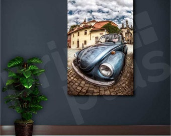 VW Beetle Old Car Canvas Art Poster Print Home Wall Decor