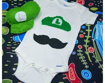 Super Plumber Brothers Luigi or Mario Baby Onesie And Rattle Gift Set