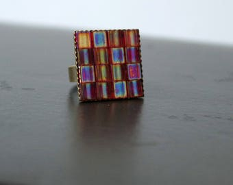 Transparent Berry Colored Adjustable Tile Mosaic Ring, Statement Ring, Festival Jewelry, Boho Ring