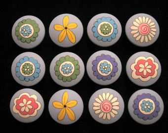 Set of 12 FANTASY FLOWERS - Hand Painted Dresser Drawer Knobs