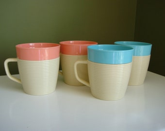 SALE-Vintage Raffiaware Mugs by Thermo-Temp - Pink and Blue Set of Four - Epsteam