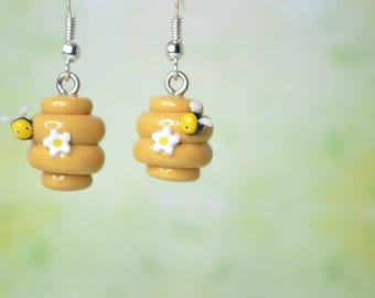 Kawaii Bee Hive Earrings with a Tiny Bee