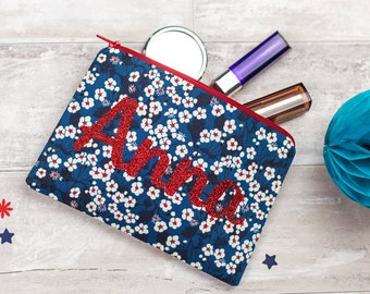 Name Make-Up Bag - personalised toiletries bag - Liberty zip pouch - personalized make up bag - washbag gift for friend - glitter name pouch