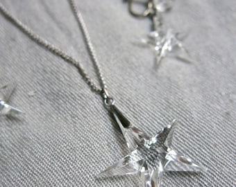 Art Deco Sterling Silver and Crystal Star Necklace and Earrings
