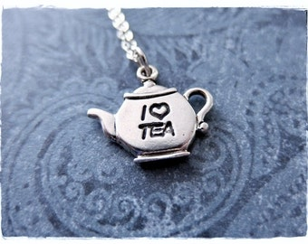 Silver I Love Tea Teapot Necklace - Sterling Silver I Love Tea Teapot Charm on a Delicate Sterling Silver Cable Chain or Charm Only