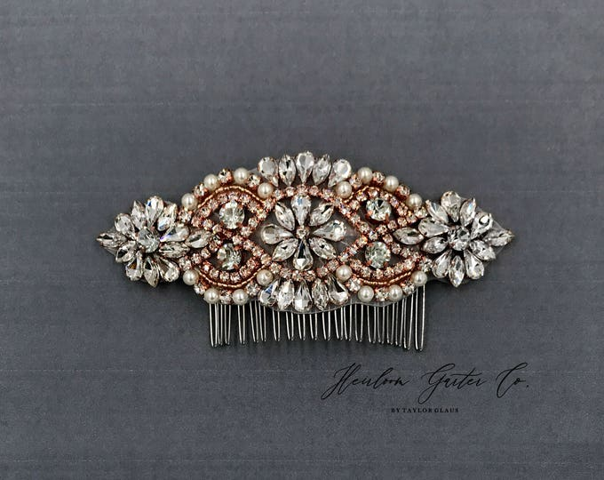 Rose Gold Wedding Hair Comb, Pearl and Rhinestone, Bridal Headpiece, Rhinestone Hairpiece, Hair Accessory 01RG