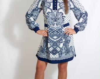 Boho Tunic Dress Long Sleeve Tunic Boho Dress Festival Dress Summer Tunic Dress Summer Dress Bohemian Dress Paisley Dress Blue and White