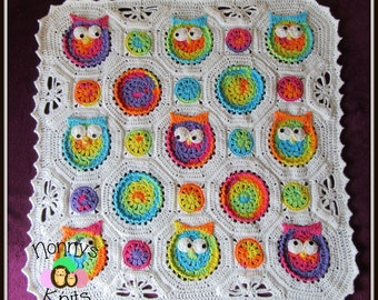 Crochet Owl Blanket, Made to order only!