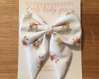 White with Roses Sailor Bow- Oversized ponytail bow, pigtail bows, headband, hair clip, baby, girls, kids, adult