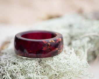 Big Size Men Ring Deep Purple Resin Ring Copper Gold Flakes huge size 16 size 15 ring size 13 Smooth Ring OOAK dark men jewelry