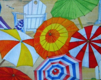 beach umbrellas  Beach Vista--fabric by the yard--Elizabeth's Studio, multi, cotton