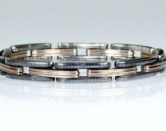 Antique German Niello Silver Rose Gold Vermeil Bracelet
