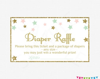Diaper Raffle Ticket, Pink Mint Gold Baby Shower, Twinkle Twinkle Little Star Baby Shower, Sign and Raffle Cards, Printable Download, STPMG