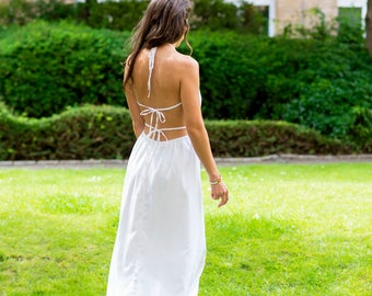 Summer Backless Dress 100% Cotton Handmade - boho maxi dress, long dress