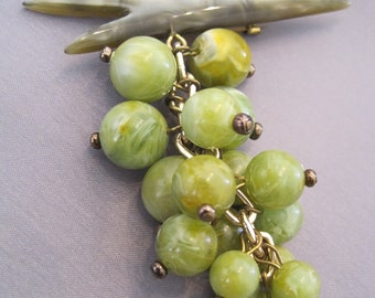Vintage Lucite Grape Cluster Brooch