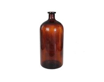 Vintage Large Apothecary Brown Glass Bottle Jug Vase
