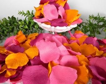 Pink & Orange Bright Blend Rose Petals | 300 Artificial | Tropical Orange Pink Wedding | Spring Summer Shower |Tossing Petals  Table Scatter
